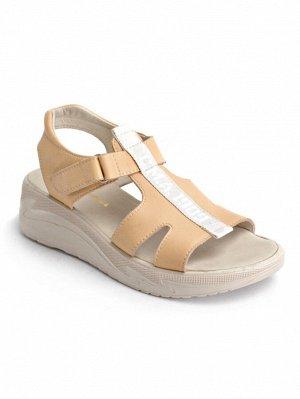 Туфли женские летние, бежевая кожа