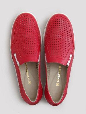 Туфли женские летние, красная кожа