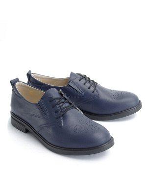 Туфли женские летние, синяя кожа