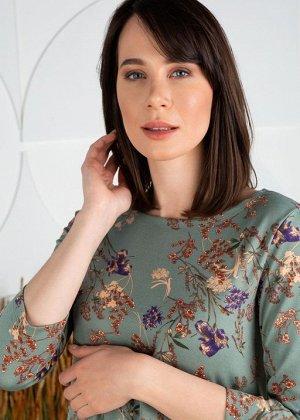 """Платье """"Эрлин"""" для беременных; селадон/цветы"""