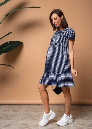 """Платье """"Калифорния"""" для беременных и кормящих синий/полоса"""
