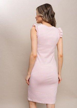 """Платье """"Круиз"""" для беременных и кормящих полоса/пудрвый"""