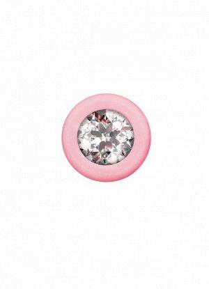 Анальная цепочка с прозрачным кристаллом Emotions Chummy Pink