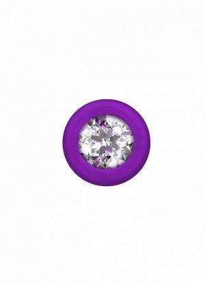 Анальная цепочка с прозрачным кристаллом Emotions Chummy Purple