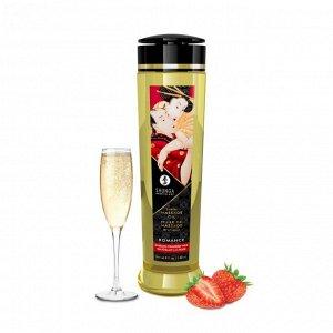 Возбуждающее массажное масло Shunga Romance с ароматом клубники и шампанского (240 мл)