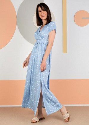 """Платье """"Лианель"""" для беременных и кормящих; голубой/горох"""