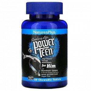 Nature's Plus, Source of Life, Power Teen, для мальчиков-подростков, натуральный вкус лесных ягод, 60 жевательных таблеток