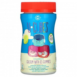 Solgar, U-Cubes, детский кальций с витамином D3, со вкусом розового лимонада, черники и клубники, 60 жевательных таблеток