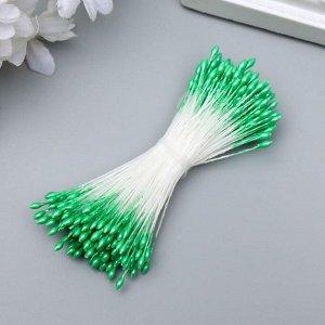 """Тычинки для искусственных цветов """"Капельки светло-зелёные"""" (набор 130 шт) длина 6 см"""