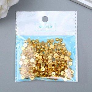 """Декор для творчества пластик """"Полужемчужина золотистая"""" набор 250 шт 0,5х0,5х0,3 см"""