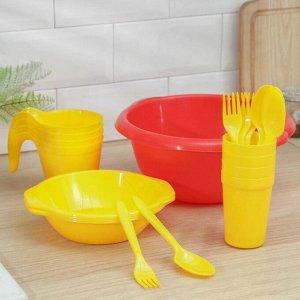 """Набор посуды """"Праздничный"""": 4 стакана, 4 кружки, 4 тарелки, миска 3,5 л, 4 вилки, 4 ложки, цвет МИКС"""
