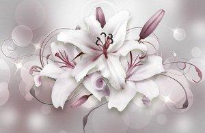 3D Ковер «Сияющие пудровые лилии»