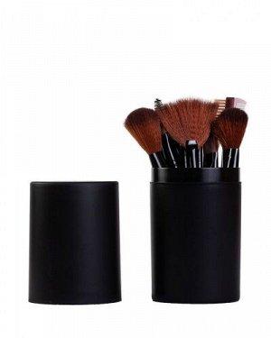 Набор кистей для макияжа в тубусе 12шт