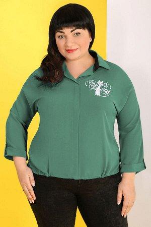 Зеленый Примечание: замеры длин соответствуют размеру 60. Длина блузы спереди: 64 см. Длина блузы сзади: 69 см. Длина рукава: 52 см. Подкладка: нет. Застежка: нет. Карманы: нет. Декор: принт, пуговицы