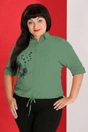 Зеленый Примечание: замеры длин соответствуют размеру 56. Длина блузы спереди: 64 см. Длина блузы сзади: 68 см. Длина рукава: 38 см. Подкладка: нет. Застежка: нет. Карманы: нет. Декор: пуговицы, принт