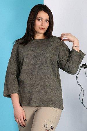 Хаки Примечание: замеры длин соответствуют размеру 60. Длина блузы: 70 см. Длина рукава: 51 см. Подкладка: нет. Застёжка: нет. Карманы: нет. Декор: пайетки. Состав: хлопок 100%.
