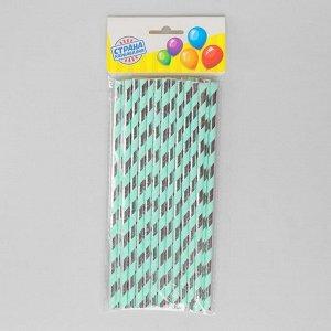 Трубочки для коктейля «Спираль», набор 25 шт., цвет бирюзовый