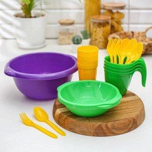Набор посуды «Праздничный»: 4 стакана, 4 кружки, 4 тарелки, миска 3,5 л, 4 вилки, 4 ложки, цвет МИКС