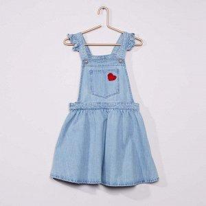 Джинсовый сарафан с сердцем - голубой