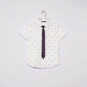Рубашка Оксфорд и галстук - белый