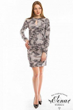 Платье Платье выполнено из вязаного полотна с рисунком и люрексом. Рукав втачной, длинный, с лёгкой сборкой по низу и притачной манжетой. На спинке шов с застежкой на навесную петлю и пуговицу. Сперед