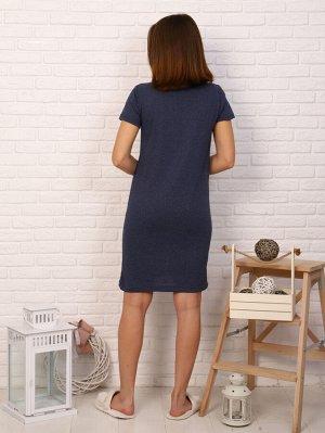 Платье Цвет: синий; Состав: 50%хлопок, 50%пэ; Материал: Кулирка Интересное платье с принтом. Модель с короткими рукавами украшена контрастной надписью на груди, которая добавляет образу яркий штрих. Э