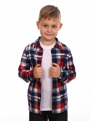 Рубашка Состав: Хлопок 100 %; Материал: Кулирка Рубашка выполнена из 100% хлопковой ткани. Прямой крой, отложной воротник, планка и манжеты на пуговицах. Рисунок в виде клетки придает рубашке яркость