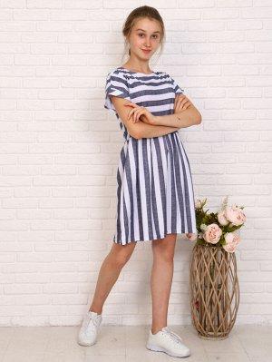Платье Цвет: синий; Состав: 60% хлопок, 40% п/э; Материал: Кулирка Симпатичное платье приталенного силуэта с расклешенной юбкой и спущенными короткими рукавами. Модель отрезная в талии, подол с заложе