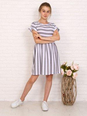 Платье Цвет: серый; Состав: 60% хлопок, 40% п/э; Материал: Кулирка Симпатичное платье приталенного силуэта с расклешенной юбкой и спущенными короткими рукавами. Модель отрезная в талии, подол с заложе