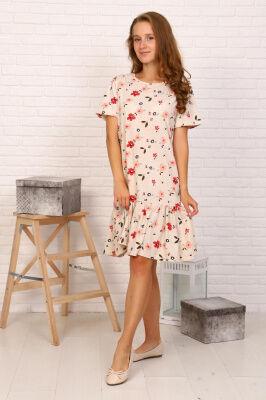 Платье Состав: Хлопок 100%; Материал: Кулирка Очень красивое платье прямого кроя с широкой оборкой. Рукав короткий. Яркий и практичный вариант на лето.