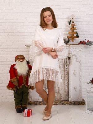 Платье Цвет: молочный; Состав: хлопок72%, п/э20%, лайкра8%; Материал: футер двухнитка с лайкрой Универсальное и стильно платье, на любые праздники! В нем, Вы будете чувствовать себя красиво, но в то ж