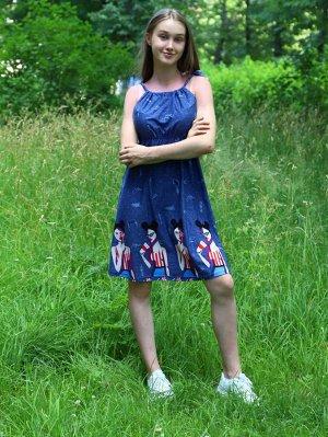 Сарафан Цвет: джинс; Состав: Хлопок 100%; Материал: Кулирка Стильный сарафан, хорошо подойдет для летних прогулок.