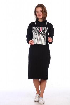 Платье Состав: 75% хлопок, 20 % пэ, 5% лайкра; Материал: футер с лайкрой Уютное домашнее платье с контрастным молодежным принтом. Спинка изделия: однотонная.