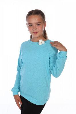 Джемпер Цвет: бирюза; Состав: хл.72%, п.э. 20% лайкра8%; Материал: кашкорсе Уютный джемпер для девочек нежнейшего голубого цвета из кашкорсе. Изящная брошь из роз делает образ более романтичным.