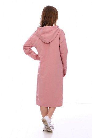 Платье Цвет: пудра; Состав: хлопок 72%, п.э. 20%, лайкра 8% Стильное платье в спортивном стиле на весну! На моделе представлен модный лук этого года. Платье идеально подходит для повседневной носки. П