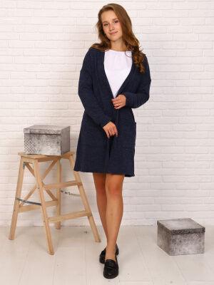 Кардиган-1 Цвет: синий; Состав: пэ100%; Материал: трикотажное полотно Кардиган - является очень удобной и функциональной одеждой! Кардиганы востребованы и при создании повседневных образов. Они сочета