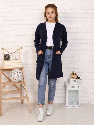 Кардиган Цвет: синий; Состав: пэ100%; Материал: трикотажное полотно Кардиган - универсальная вещь в гардеробе любой девочки! С платьем, с джинсами, в школе, на прогулке - наш кардиган везде будет умес