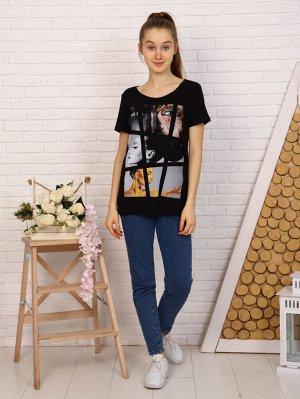 Футболка Цвет: черный; Состав: 95% вискоза 5% лайкра; Материал: вискоза Оригинальная футболка для девушек из вискозы. Легкая и приятная к телу.
