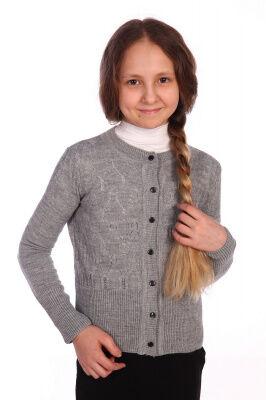 Кардиган Цвет: серый; Состав: акрил 100%; Материал: вязаное трикотажное полотно Красивый кардиган на девочку, прекрасно подойдет к школе!