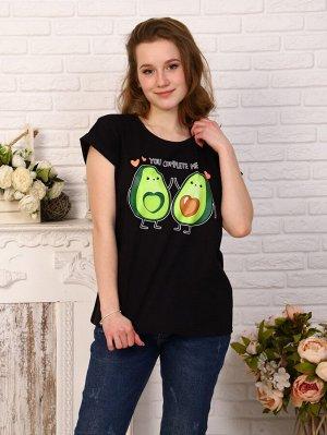 Футболка Цвет: черный; Состав: Хлопок 100%; Материал: Кулирка Встречайте модную новинку этого лета! Стильная футболка с авокадо, станет незаменимой вещью в Вашем гардеробе.