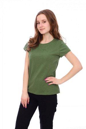 Футболка Цвет: хаки; Состав: хлопок 94%, лайкра 6%; Материал: Кулирка Уютная женская футболка из хлопка с добавлением лайкры. Цвет розовый. Подходит для дома и повседневной носки.