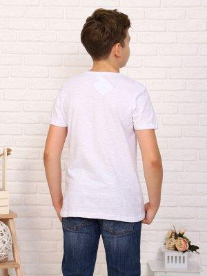 Футболка Цвет: белый; Состав: 50%хлопок, 50%пэ; Материал: Кулирка Легкая футболка на лето, с крутым принтом на мальчика. Сочетается с любой одеждой.
