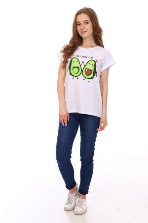 Футболка Цвет: белый; Состав: Хлопок 100 %; Материал: Кулирка Встречайте модную новинку этого лета! Стильная футболка с авокадо, станет незаменимой вещью в Вашем гардеробе.