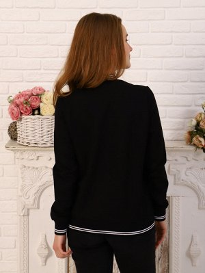 Бомбер Цвет: черный; Состав: 70% хл, 25% пэ, 5% эластан; Материал: Футер двухнитка Стильная женская толстовка на молнии с карманами.