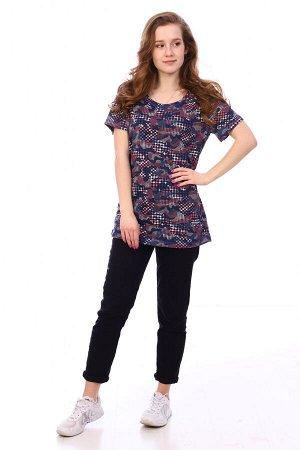 Футболка Цвет: синий; Состав: Хлопок 100 %; Материал: Кулирка Стильная футболка на лето, представлена в двух расцветках. Хорошо сочетается с любыми джинсами и юбочками.