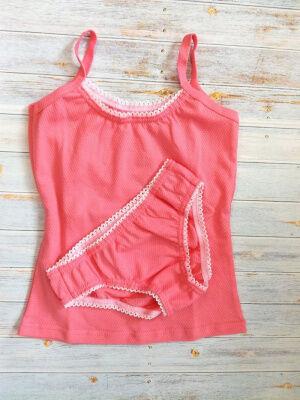 Комплект Цвет: розовый; Состав: Хлопок 100 %; Материал: ажурное трикотажное полотно Состоит из маечки и трусиков. Изготовлен из ажурного трикотажа.