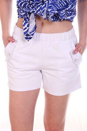 Шорты Цвет: белый; Состав: 70% хл, 25% пэ, 5% эластан; Материал: Футер двухнитка Красивые повседневные шортики. Ткань плотная, не просвечивает. Очень красиво смотрятся с яркими футболочками или блузка