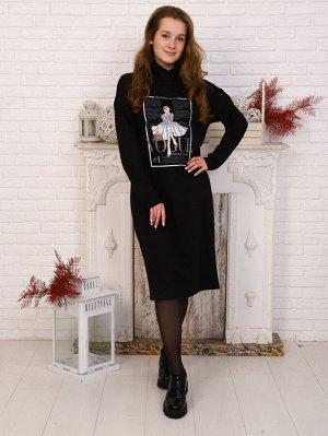 Платье Цвет: черный; Состав: 70% хлопок, 25% п/э, 5% лайкра; Материал: футер с лайкрой Материал: футер с лайкрой (хлопок 75%,п/э 20%, лайкра 5%) Длина изделия по спинке: 101,5-108,5см Длина рукава: 50
