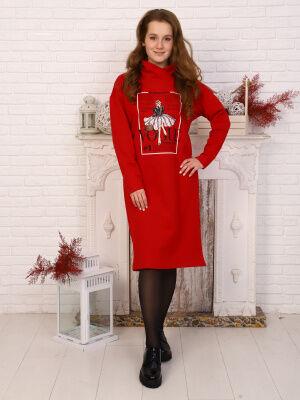 Платье Цвет: красный; Состав: 70% хлопок, 25% п/э, 5% лайкра; Материал: футер с лайкрой Материал: футер с лайкрой (хлопок 75%,п/э 20%, лайкра 5%) Длина изделия по спинке: 101,5-108,5см Длина рукава: 5