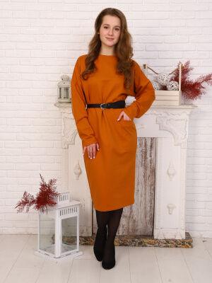 Платье Цвет: горчичный; Состав: 75% хлопок, 20 % пэ, 5% лайкра; Материал: Футер Элегантное трикотажное платье прилегающего силуэта, длиной ниже уровня колен. Вырез горловины О-образный. Рукав спущенны